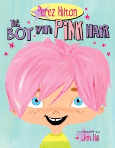 cover the boy with the pink hair